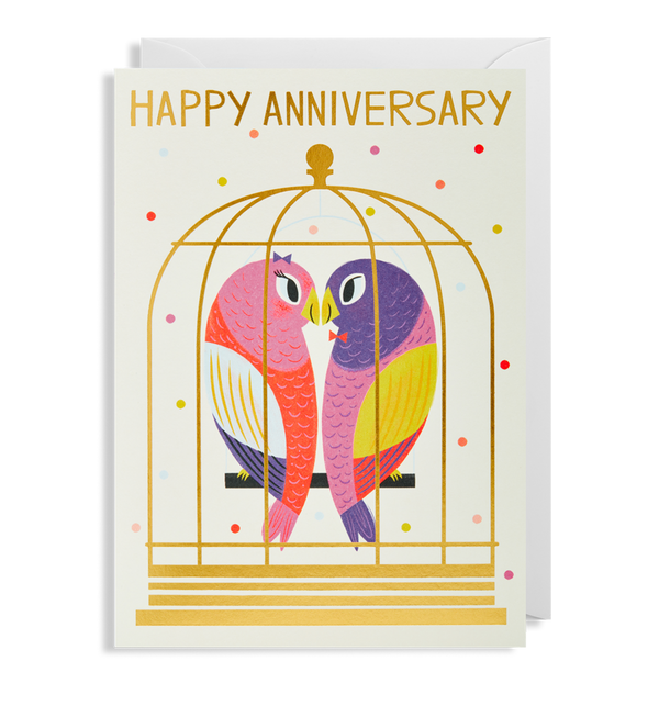 1706 Allison Black - Love Birds Happy Anniversary Greeting Card - Mrs Best Paper Co.