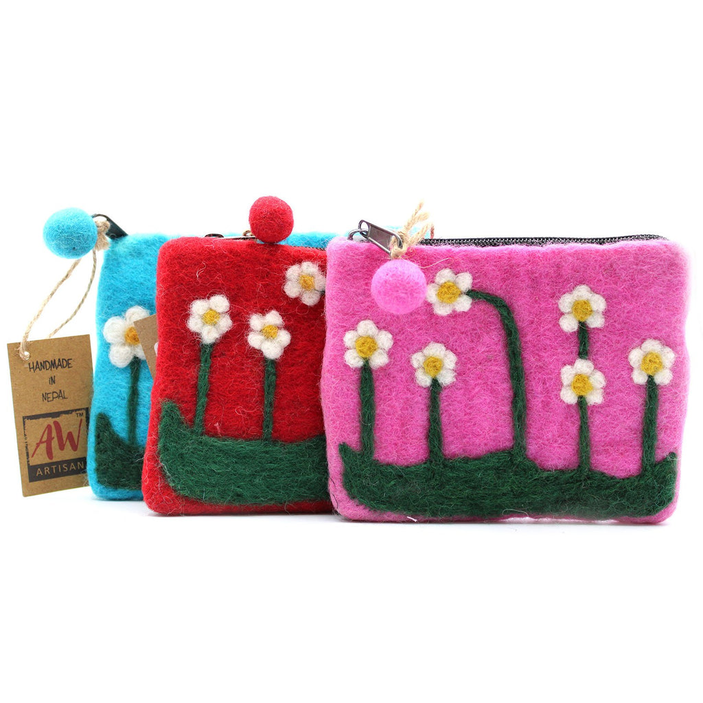 Natural Felt Zipper Pouch - Flower Garden