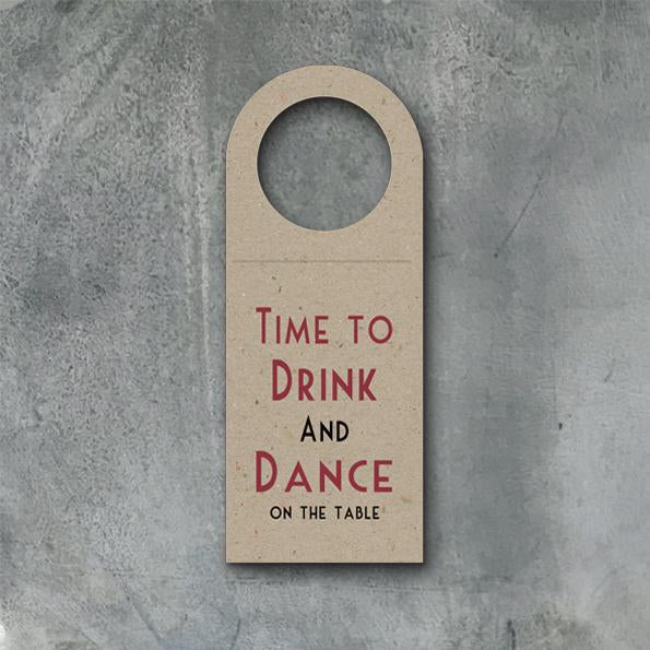 Four wine bottle tags - Time to drink