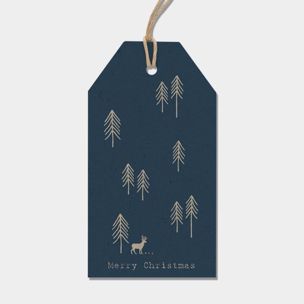 2300 Six Label pack - Navy fir trees & stag