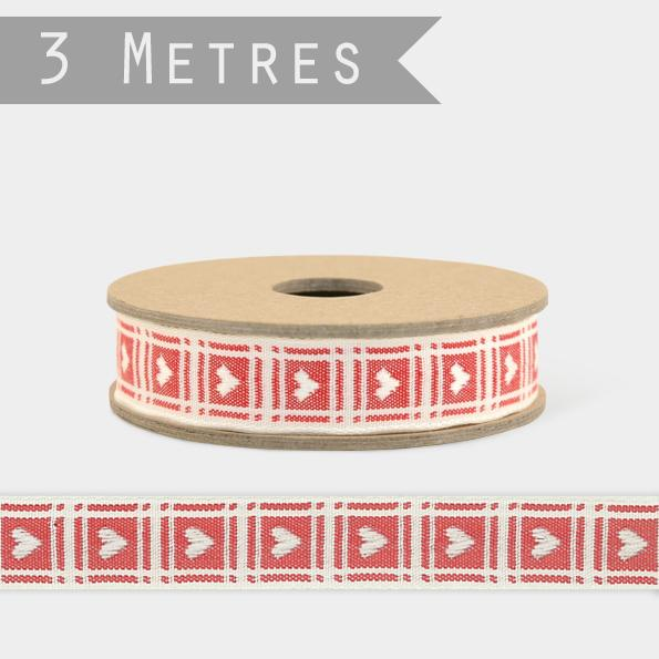 3196 3m woven ribbon - Cream heart red background