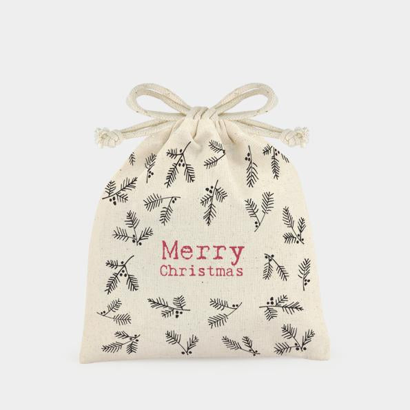 3324 Merry Christmas Holly Drawstring Gift Bag