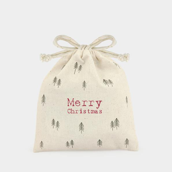 3326 Merry Christmas Trees Drawstring Gift Bag
