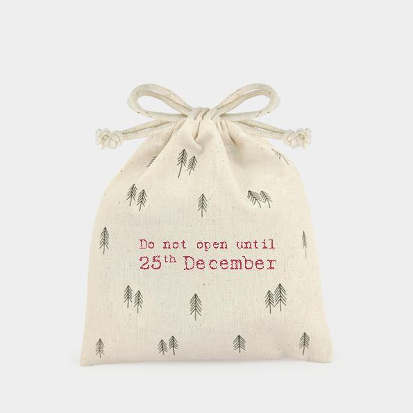 3327 Do Not Open Until Trees Drawstring Gift Bag