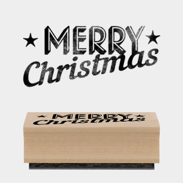 Rubber stamp - Merry Christmas - Mrs Best Paper Co.