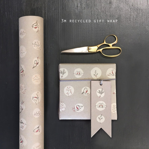 3792 Roll of Kraft paper-Grey robins & rosehips