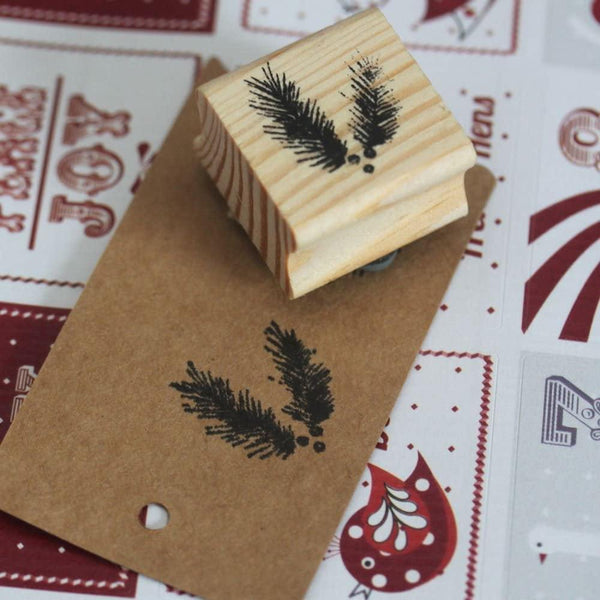 3674 Rubber stamp - Fir branch - Mrs Best Paper Co.