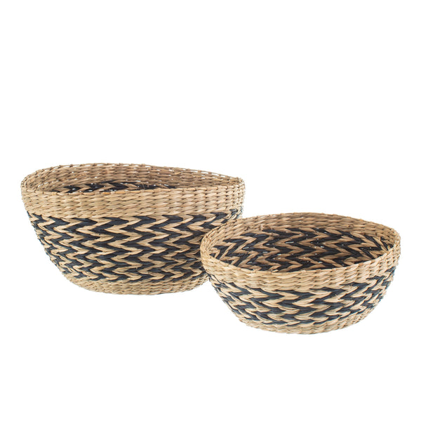 Black Chevron Seagrass Decorative Bowls - Set of 2