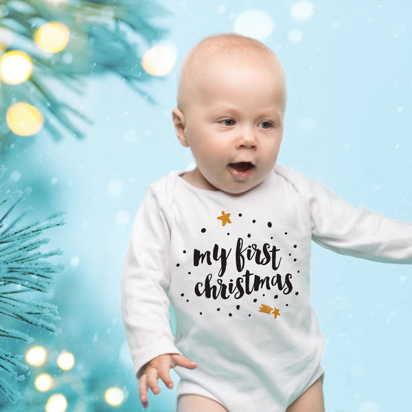 My First Christmas - Baby's First Christmas Outfit, Monochrome