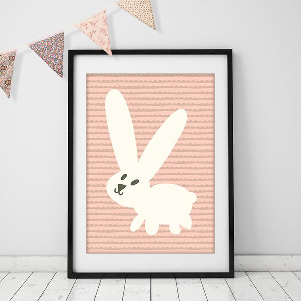 Pink Bunny - Stylish Nursery Wall Art