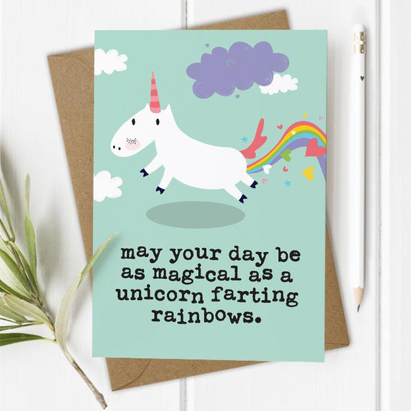 Magical Unicorn Farting - Birthday Card