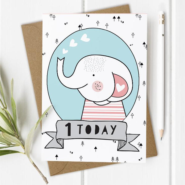 Age 1 Birthday Card - Elephant