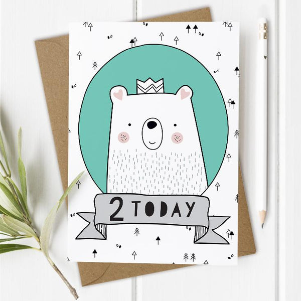 Age 2 Birthday Card - Bear