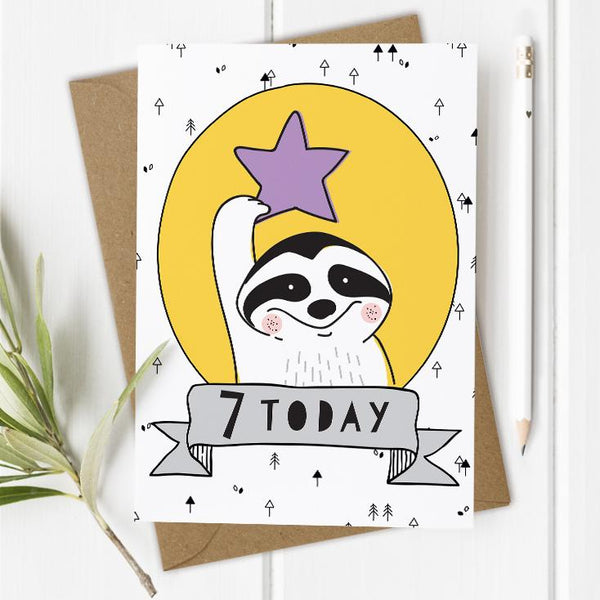 Age 7 Birthday Card - Raccoon