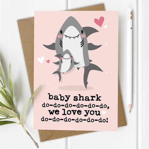 Baby Shark Birthday Card - Pink