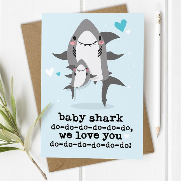 Baby Shark Birthday Card - Blue