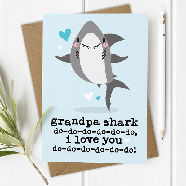 Grandpa / Grandad Shark I/We Love You Card