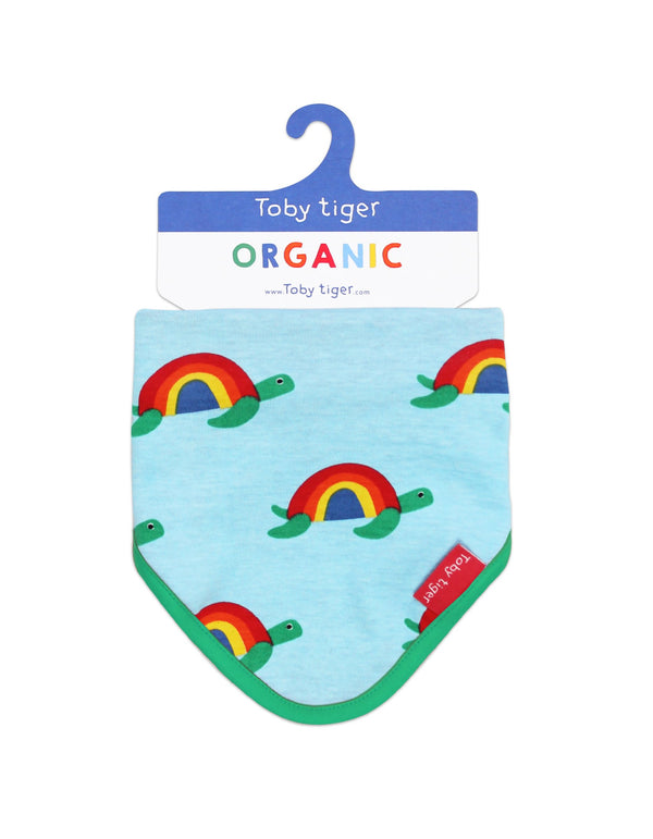 Toby Tiger Organic Multi Turtle Print Dribble Bib Blue