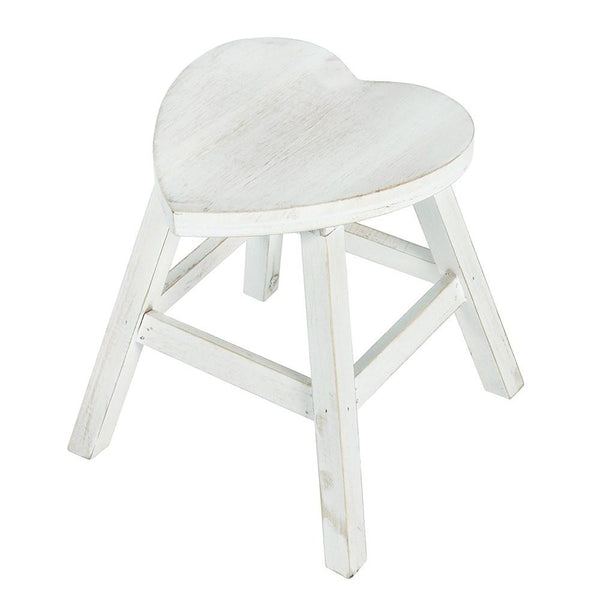 White Wash Natural Shabby Heart Stool