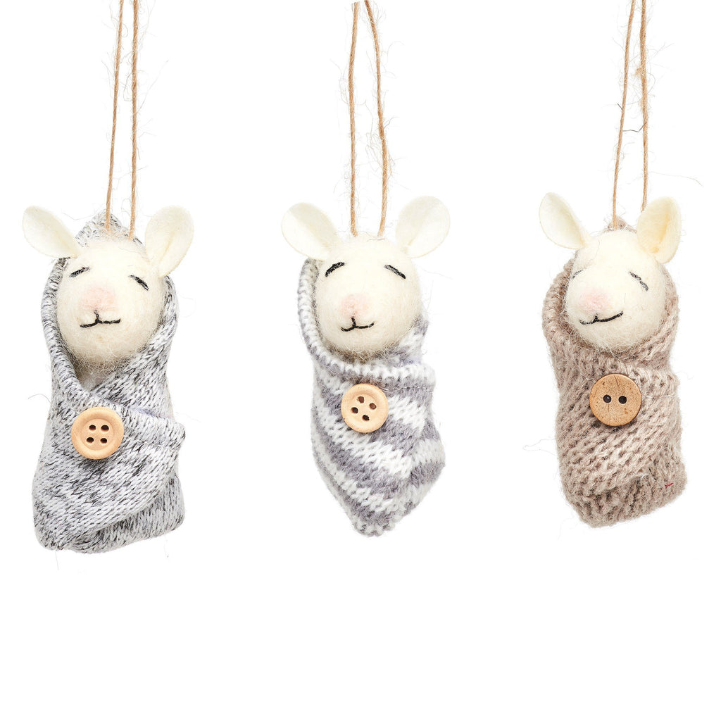 Baby Mice Felt Decoration - Assorted