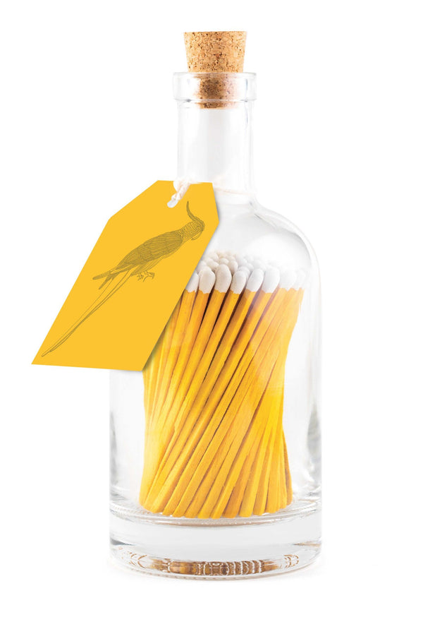 Glass Bottles of Extra-Long Matches - Yellow Parrot