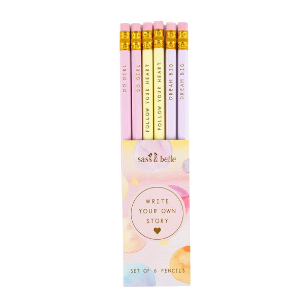 Set Of 6 Pastel Write Your Own Story Pencils