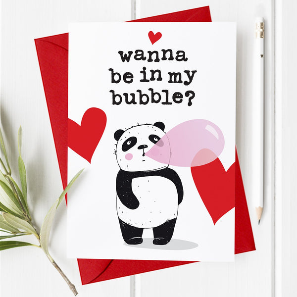 Panda Bubble - Lockdown Valentine's Day Card / Anniversary