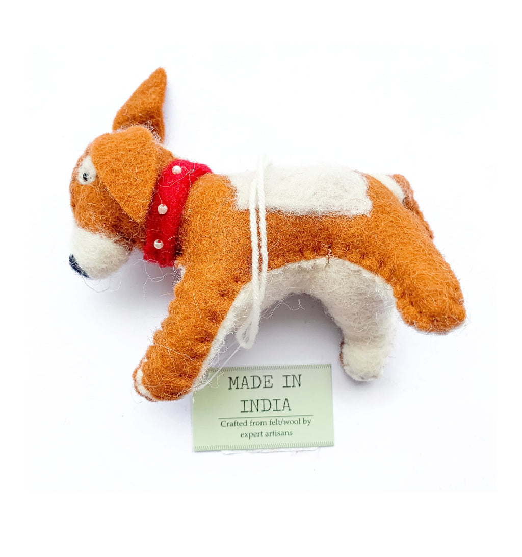 Wool Dog Red Collar Christmas Decoration