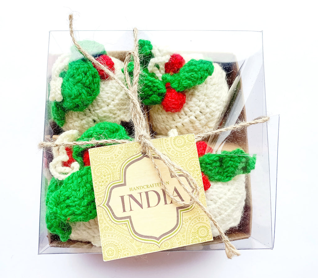 Box of Knitted Christmas Puddings x 4