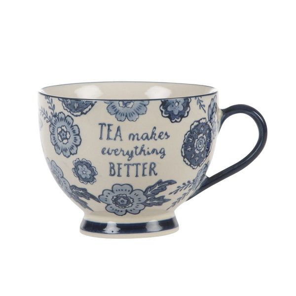 Blue Willow Floral Mug - Tea Makes Everything Better