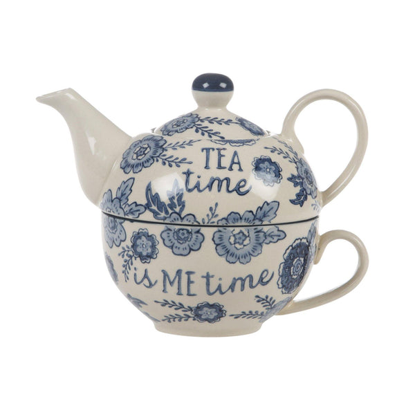 Blue Willow Floral Tea For One - Mrs Best Paper Co.