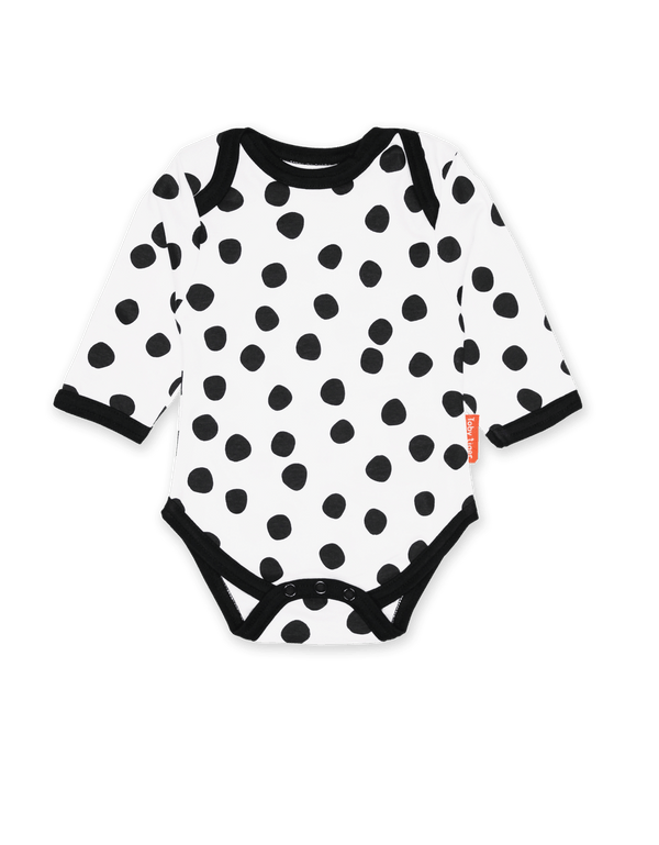 Toby Tiger Organic Black Dot Babygrow - Mrs Best Paper Co.