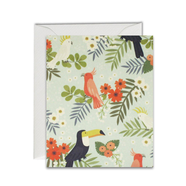 MC2999 - Tropical Birds Pattern pk of 5 cards - Mrs Best Paper Co.