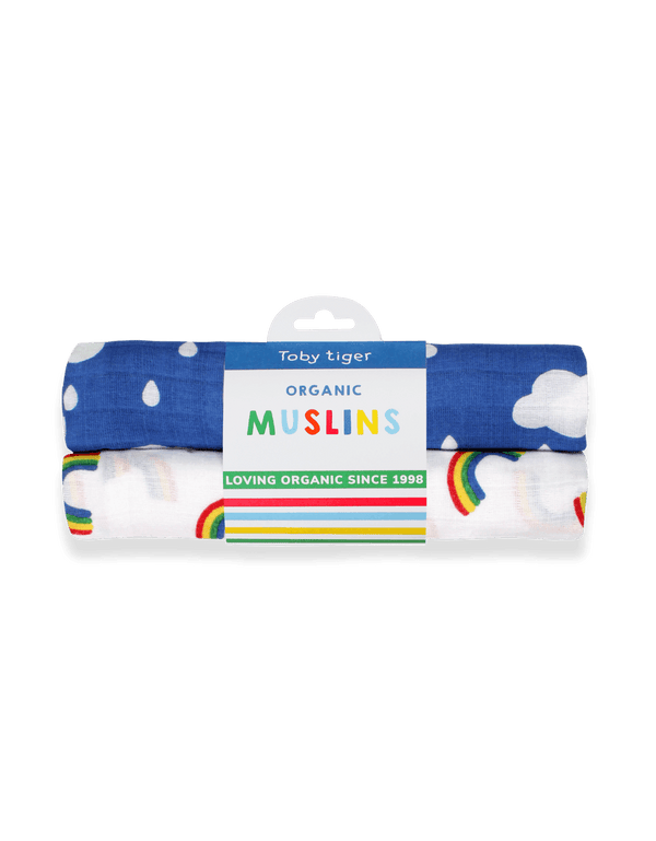 Toby Tiger Organic Multi Rainbow 2-pack Muslins - Mrs Best Paper Co.