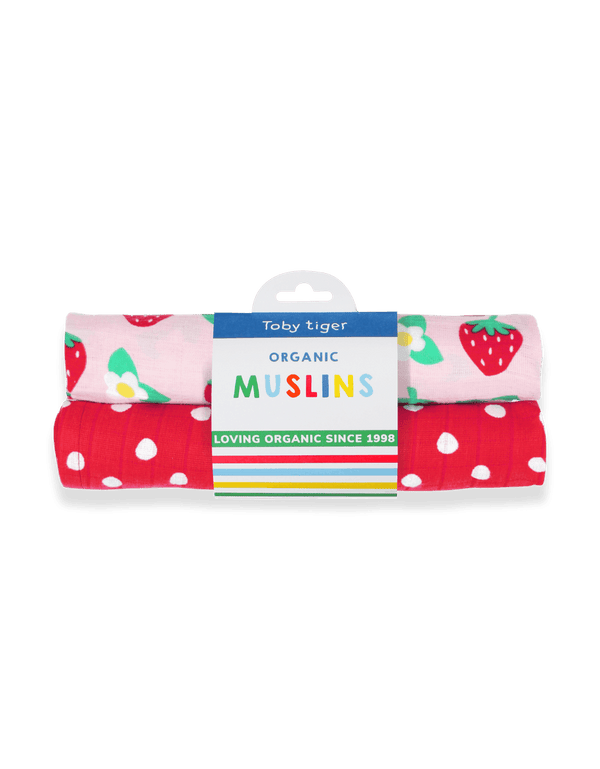 Toby Tiger Organic Strawberry 2-pack Muslins - Mrs Best Paper Co.