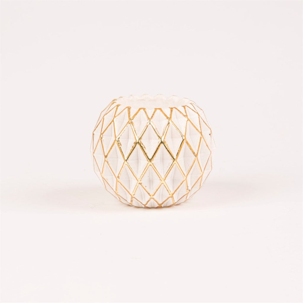Gold & White Geometric Tealight Holder