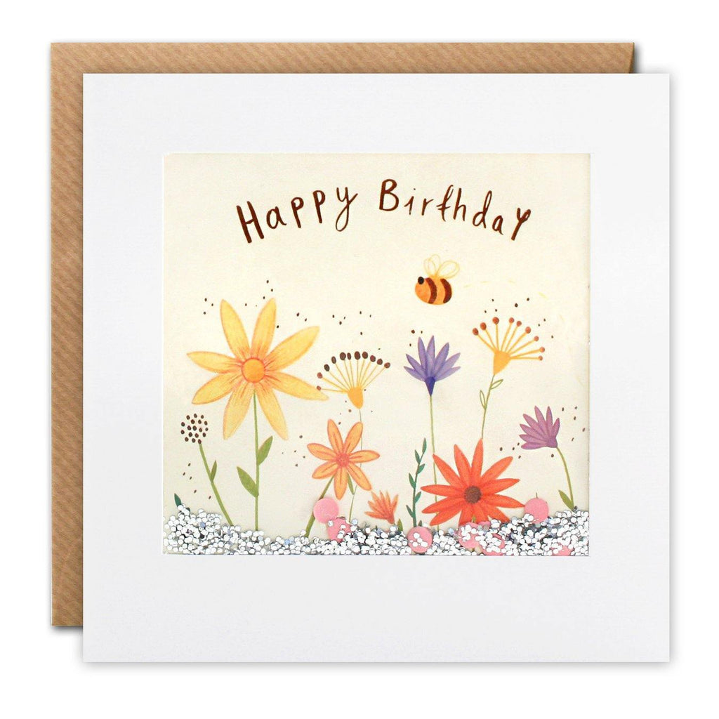 PS2692 - Flowers and Bee Shakies Card - Mrs Best Paper Co.