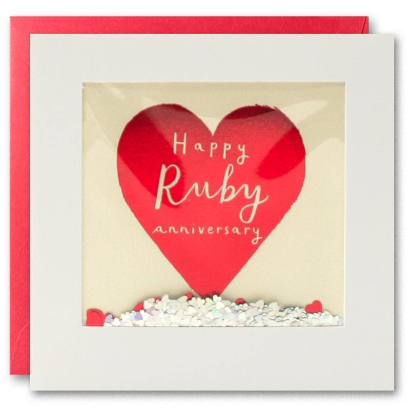 PT2898 - Ruby Anniversary Foiled Shakies Card - Mrs Best Paper Co.