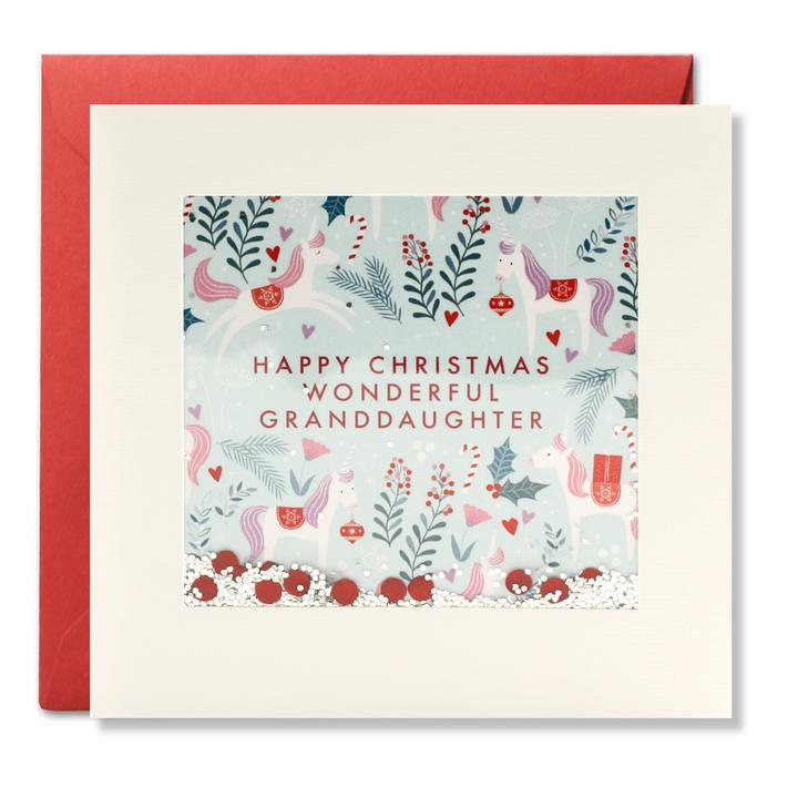 RPS3183 - Granddaughter Unicorn Pattern Christmas Shakies Card