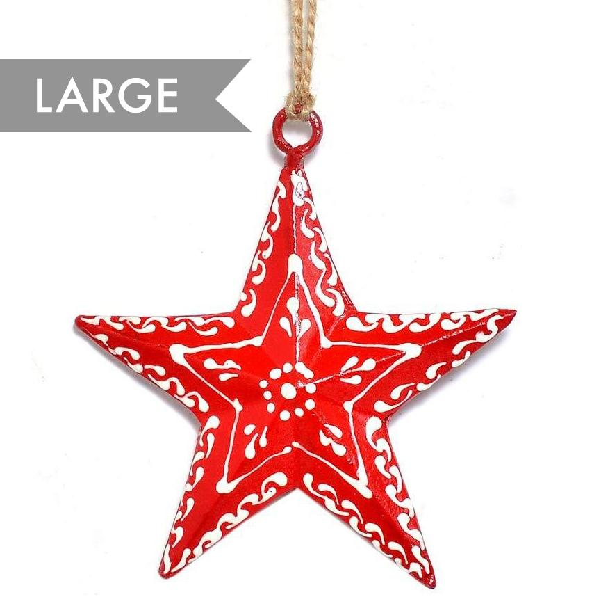 Metal Red Star Large - Hanging Christmas Decoration