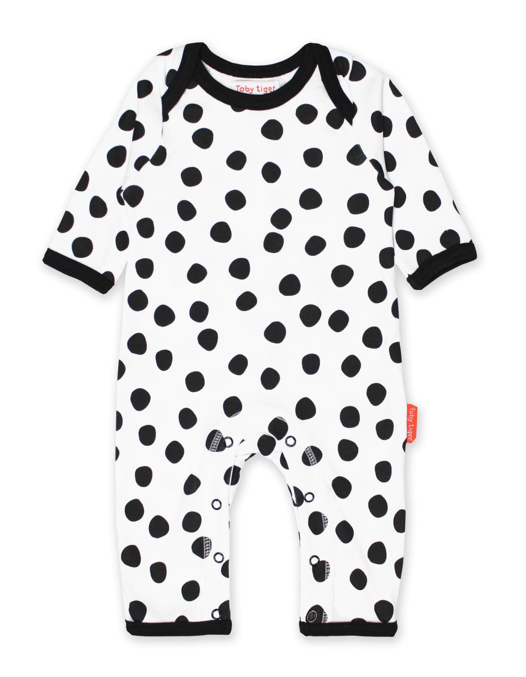 Toby Tiger Organic Black Dot Sleepsuit
