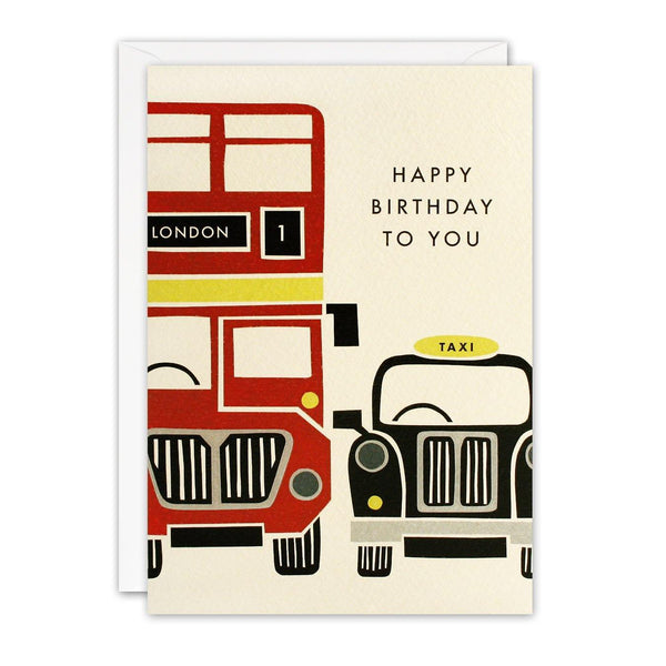T3237 - Red Bus and Taxi London Retro Press Card - Mrs Best Paper Co.