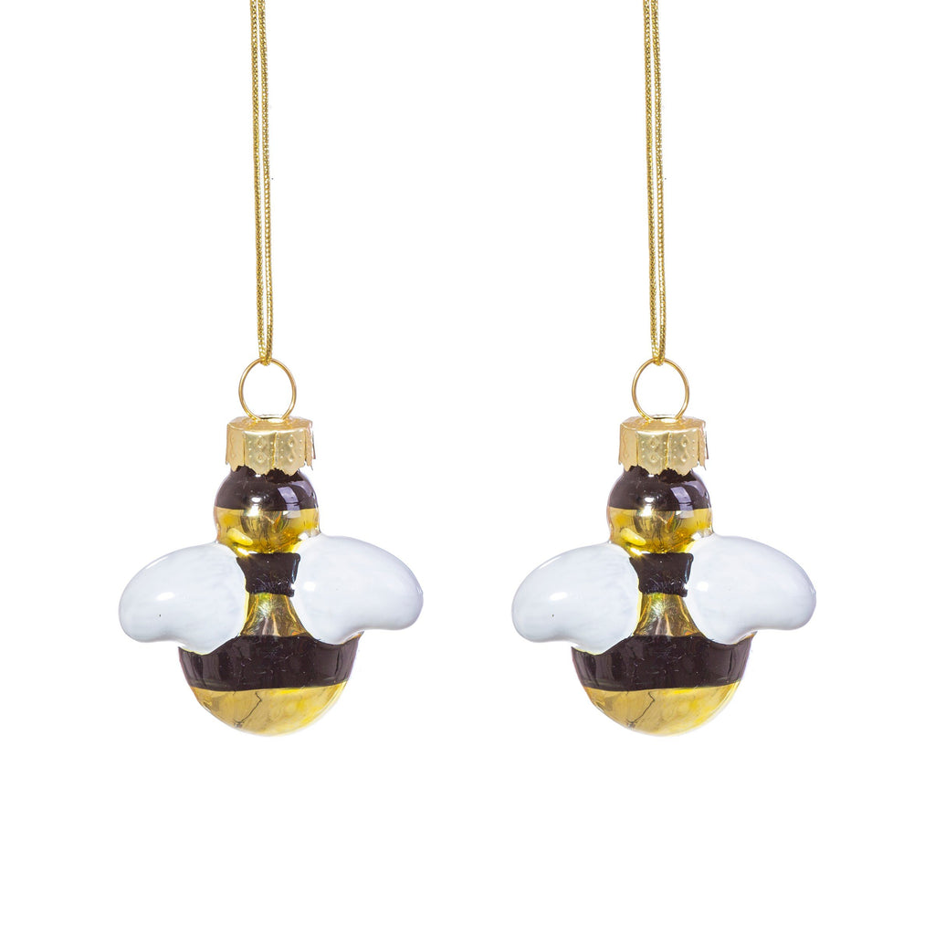 Bee Shaped Mini Bauble - Set of 2
