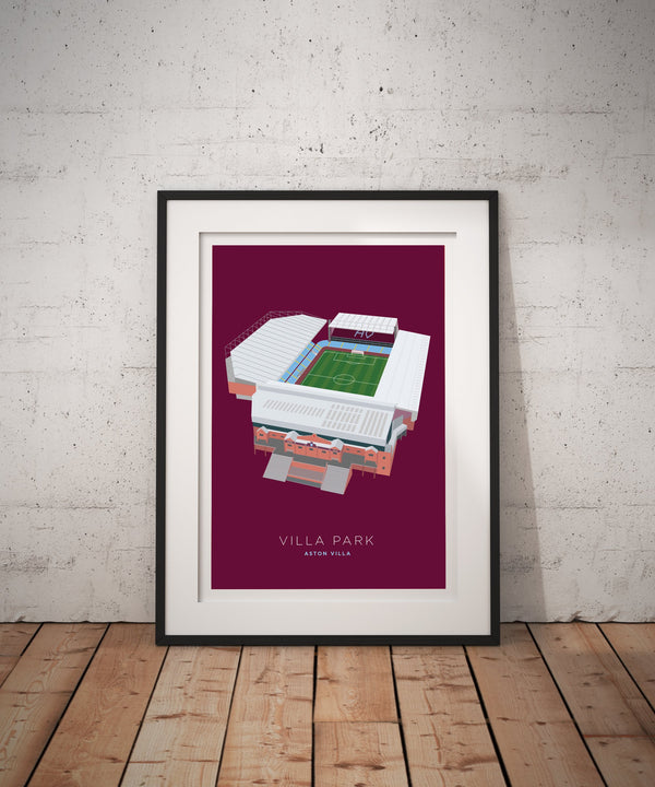 A4 Aston Villa Football Stadium Print / Poster