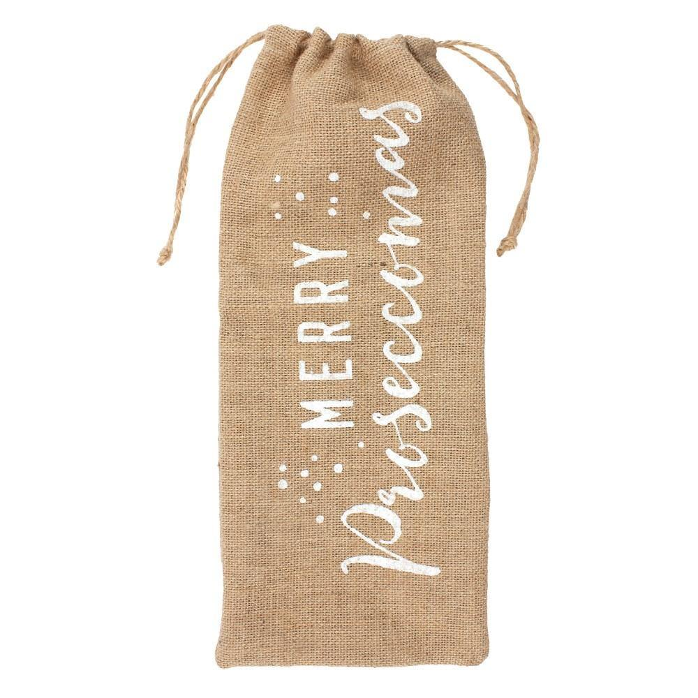 Merry Proseccomas Hessian Bottle Bag - Mrs Best Paper Co.