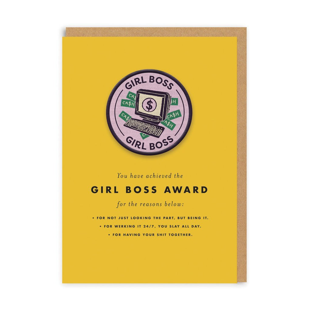 Girl Boss Woven Patch Greeting Card - Ohh Deer
