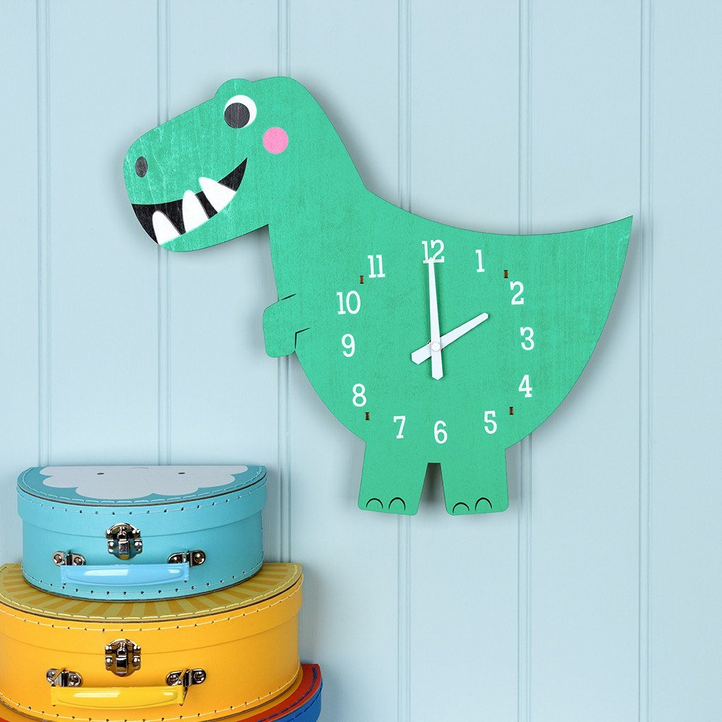 Dex The Dinosaur Wooden Wall Clock 28464