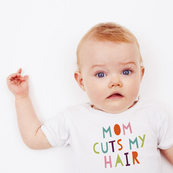 Mom Cuts my Hair - Short Sleeved Baby Vest