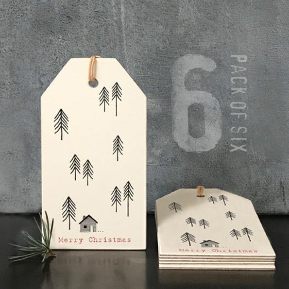 Six Label pack-Cream fir trees & house - Mrs Best Paper Co.