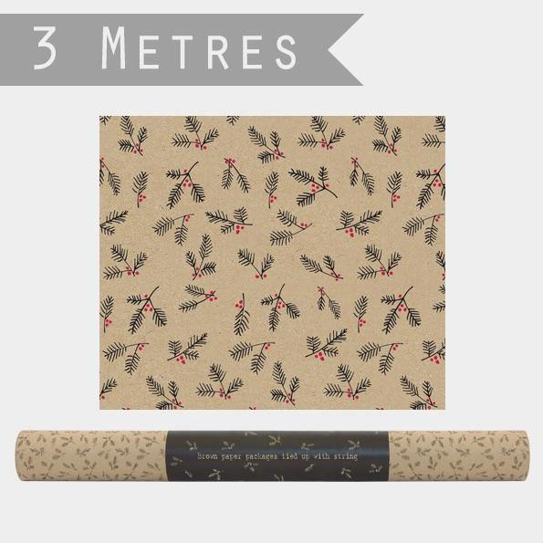 Roll of Kraft paper-Berry branches - Mrs Best Paper Co.